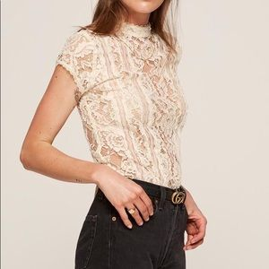 Reformation Damon top XS cream lace